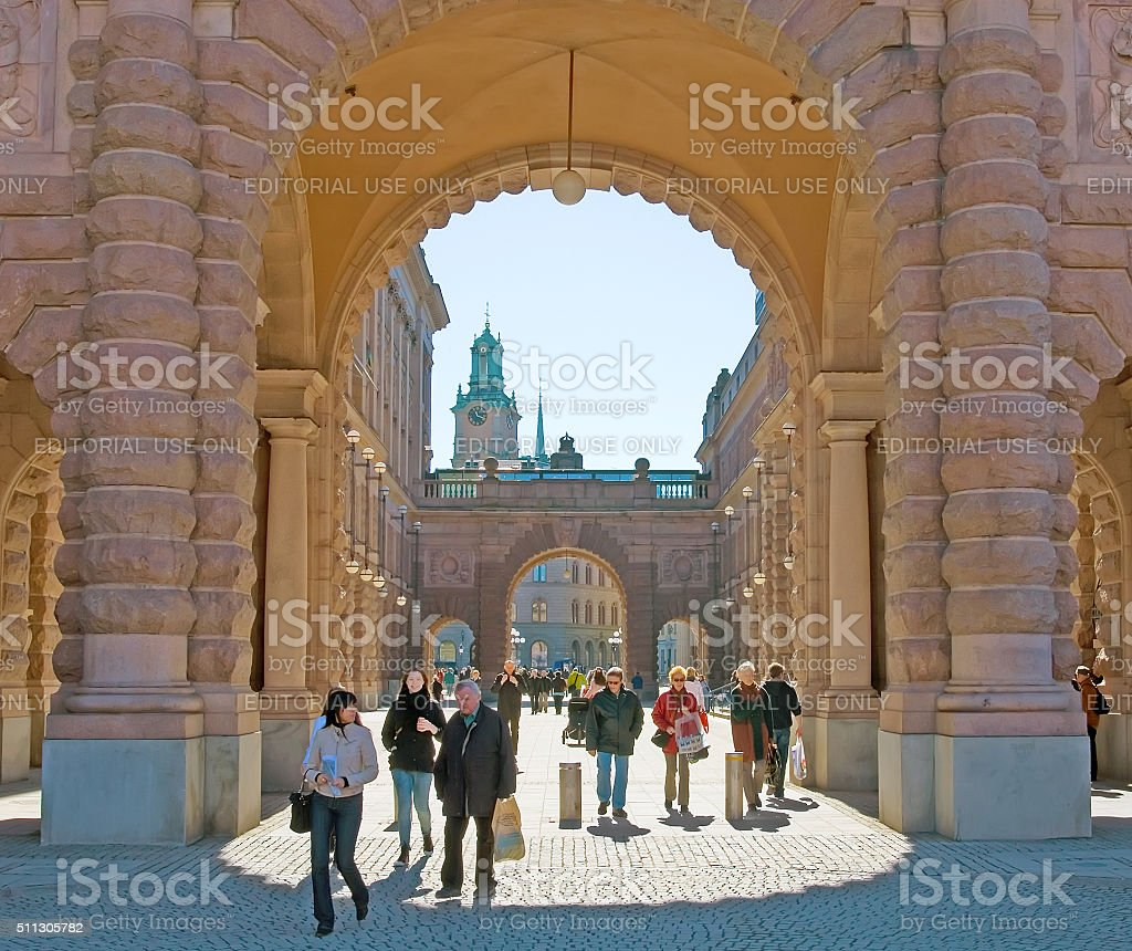 Stockholm. Sweden. People in Gamla Stan stock photo