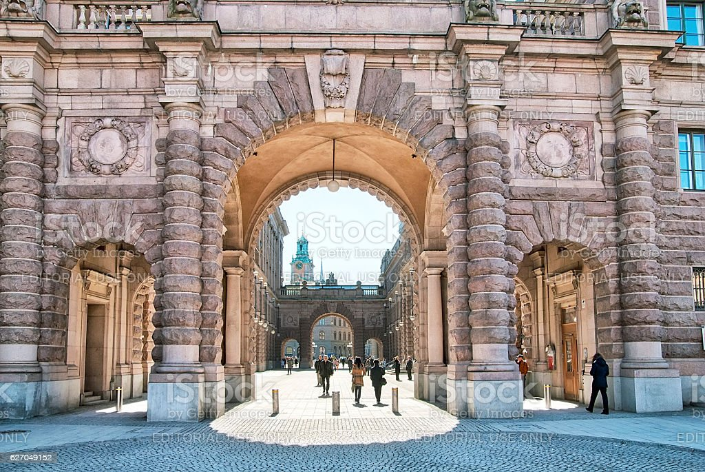 Stockholm. Sweden. People in Gamla Stan stock photo