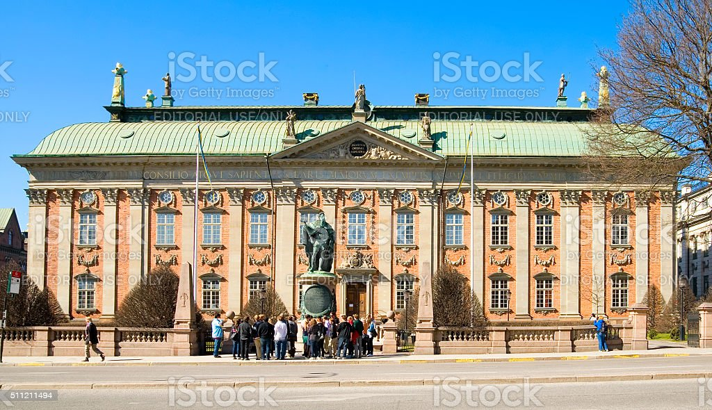 Stockholm. Sweden. People near Knight House stock photo