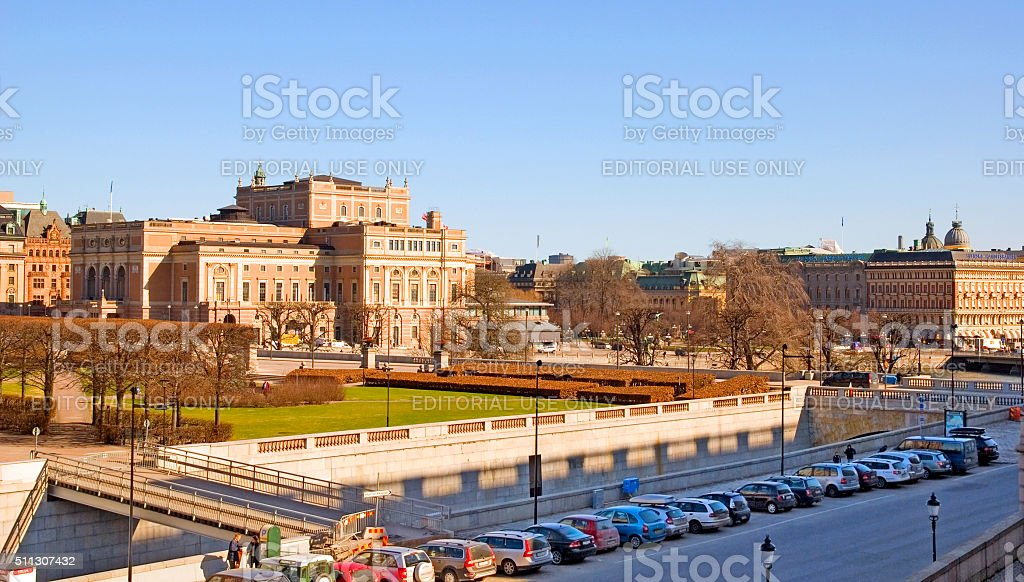 Stockholm. Sweden. People near The Royal Swedish Opera stock photo