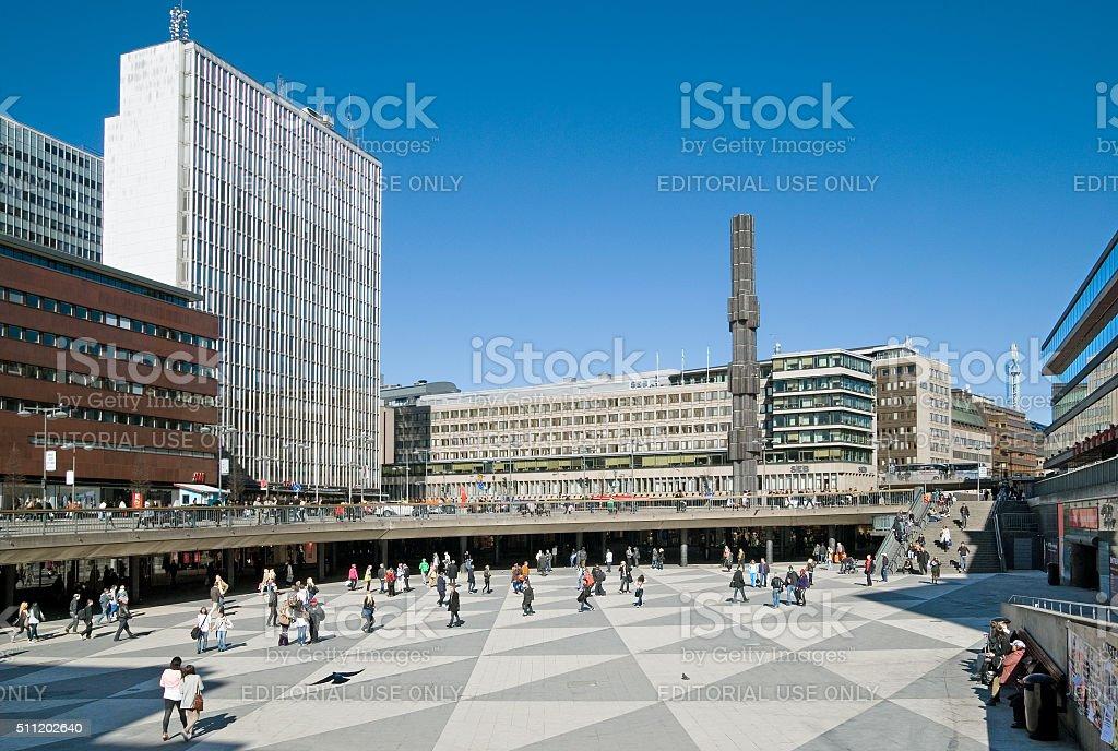 Stockholm. Sweden. People on Sergels Torg stock photo