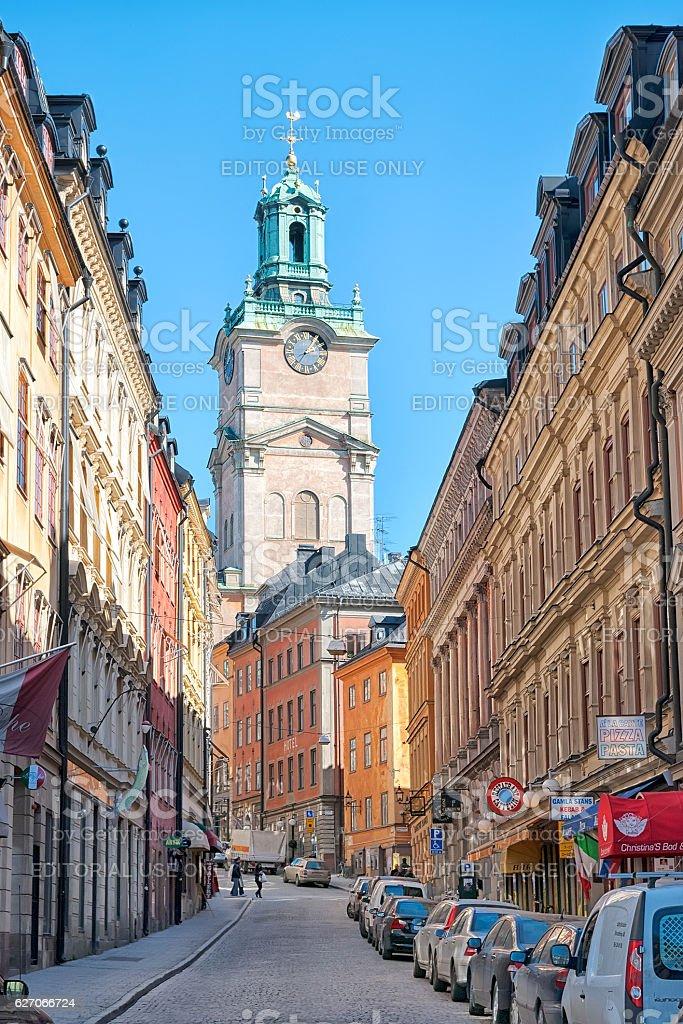 Stockholm. Sweden. People on Storkyrkobrinken Street stock photo
