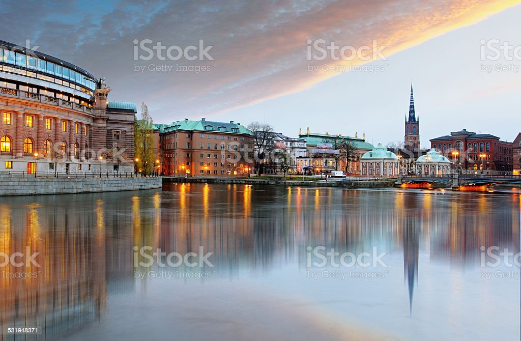 Stockholm, Sweden. Riksdag (parliament) building. stock photo