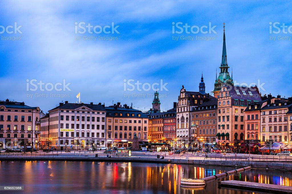 Stockholm, Sweden. Scenic view of the old town and church stock photo