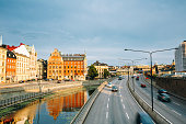 Stockholm, Sweden. View Of Embankment And Centralbron Highway
