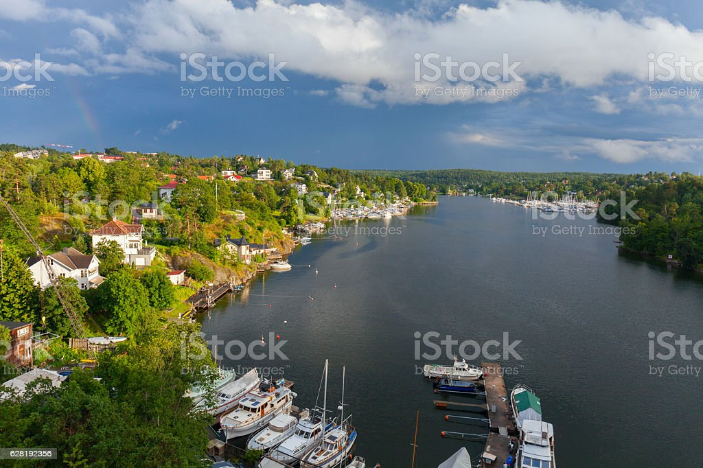 Stockholm. The scenic lagoon in a residential area stock photo