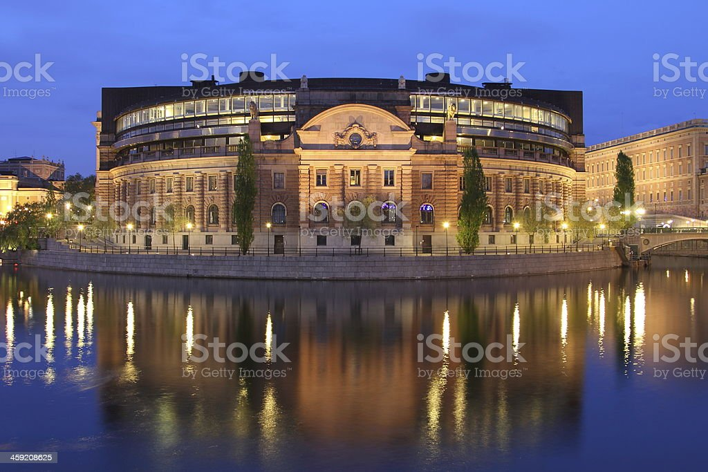 Stockholm the swedish Parliament by night stock photo