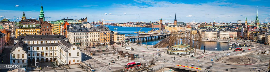 Stockholm vibrant cityscape panorama across Sodermalm and Slussen waterfront Sweden stock photo