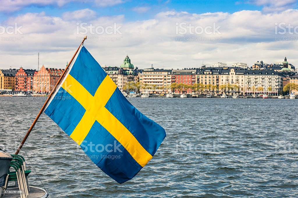 Stockholm view to downtown with a Swedish flag stock photo