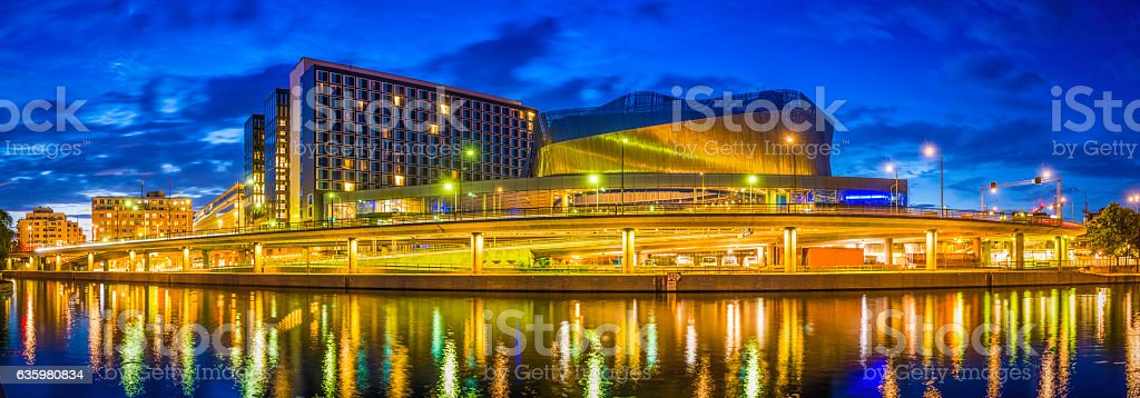 Stockholm waterfront highways highrises modern downtown cityscape panorama illuminated Sweden stock photo