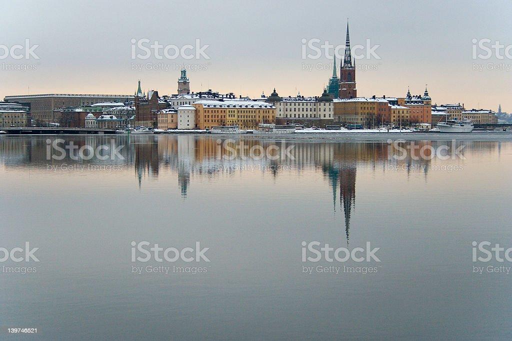 Stockholm Winter Skyline royalty-free stock photo
