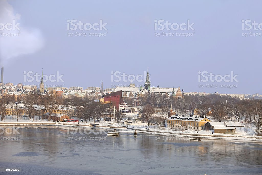 'Stockholm winter view, Djurgården with Wasa and Nordic muse' stock photo