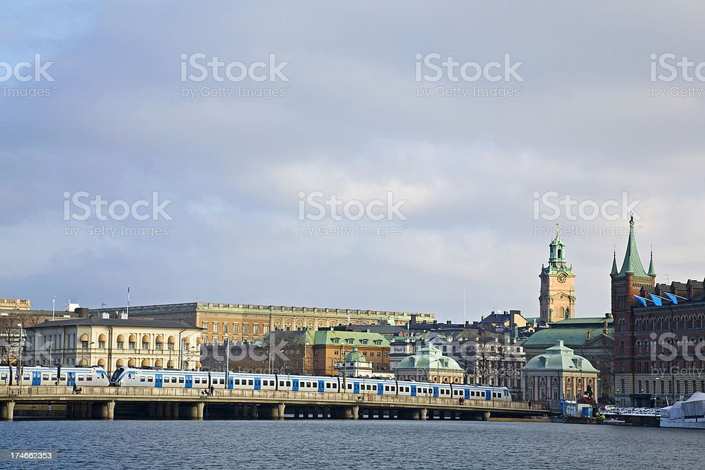 Stockholm with Royal castle and old city. stock photo