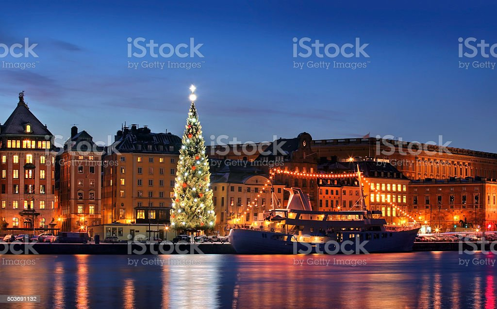 .Stockholms old city with christmas tree stock photo