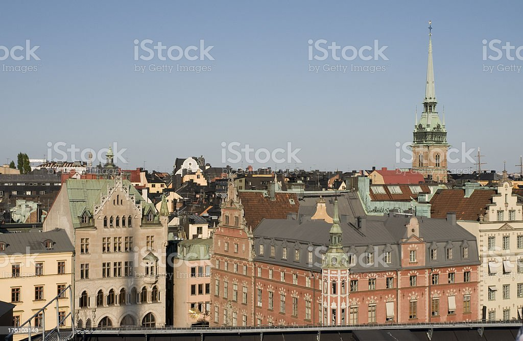 Stockholm's old town from the parliament's roof royalty-free stock photo
