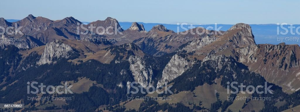 Stockhorn and other mountains seen from mount Niesen stock photo