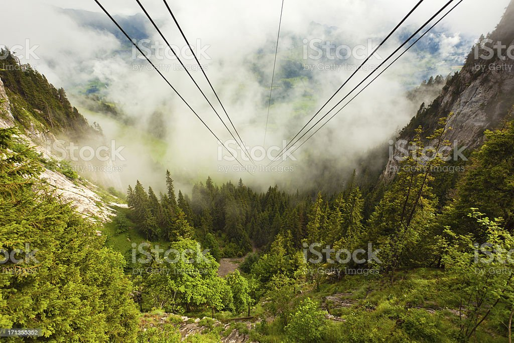 Stockhorn mountain range and cablecar line royalty-free stock photo