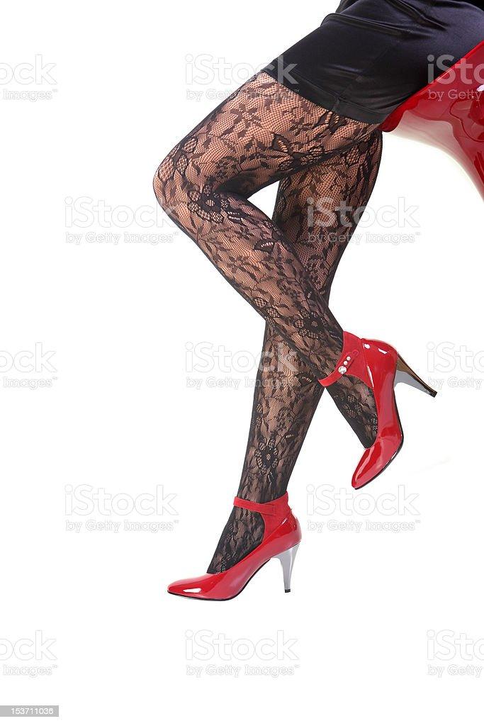 Stocking and long leg on isolated white background stock photo