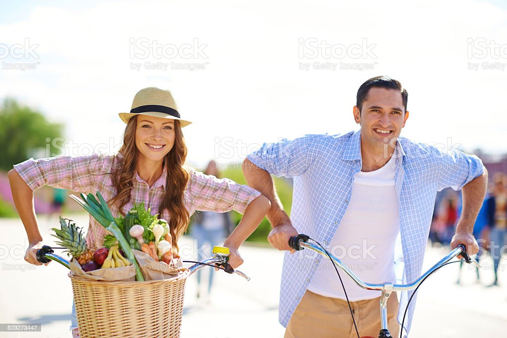 Stocking up on fresh and healthy food stock photo