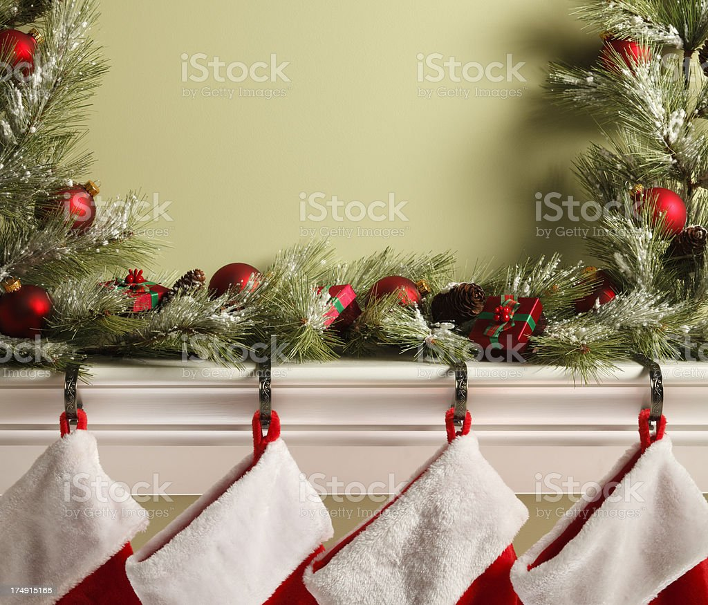 Stockings On Mantelpiece royalty-free stock photo