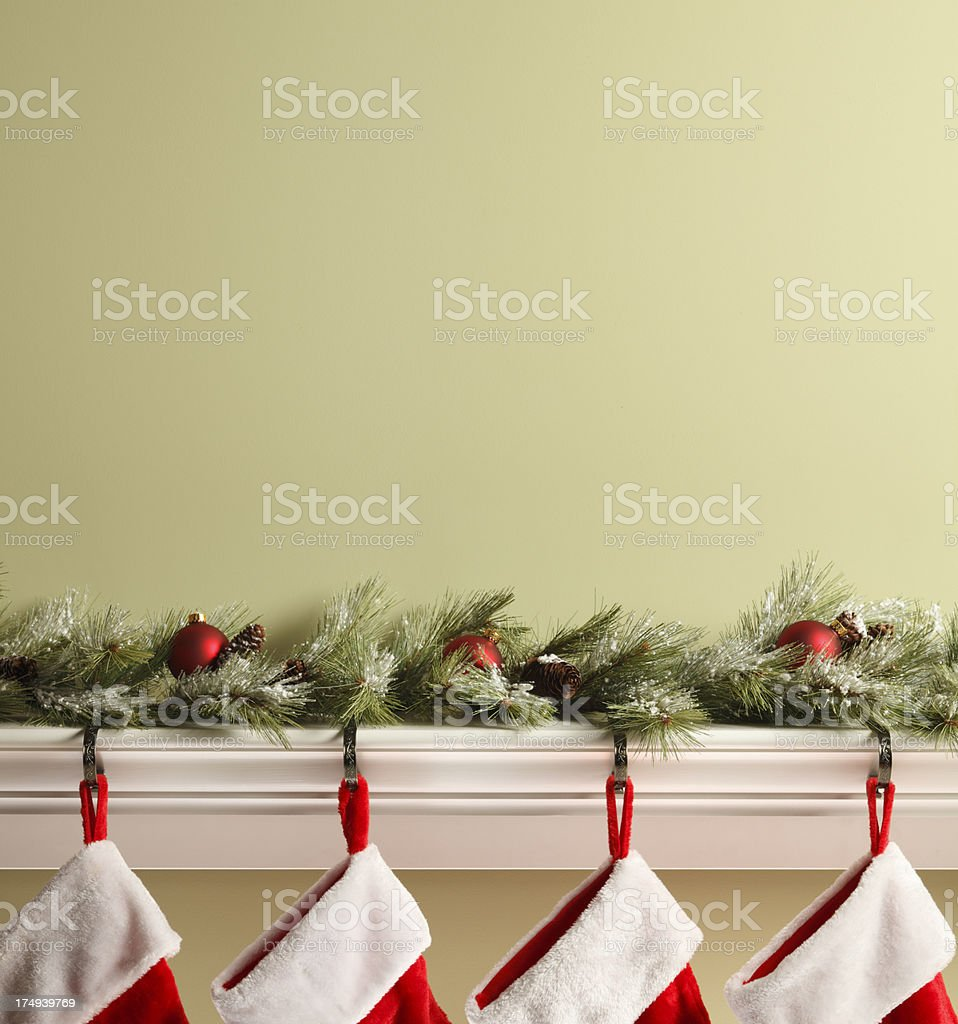 Stockings On Mantelpiece stock photo