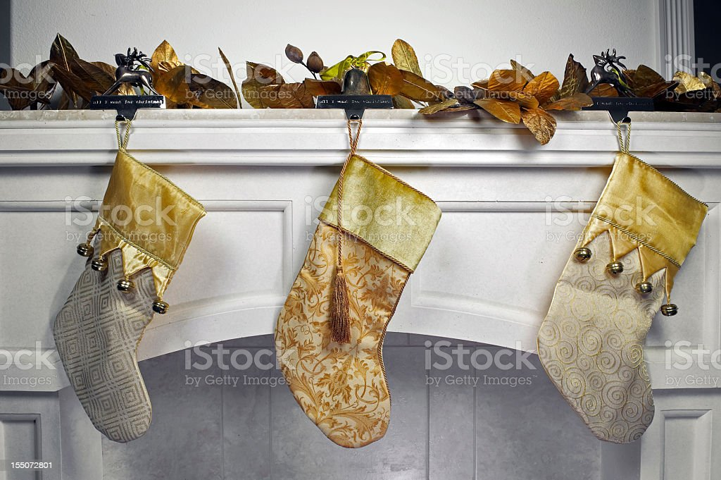 Stockings on Mantle royalty-free stock photo