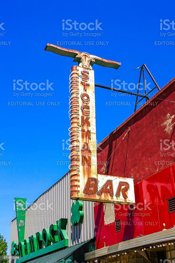 Stockman Bar overhead sign in Wibaux, Montana stock photo