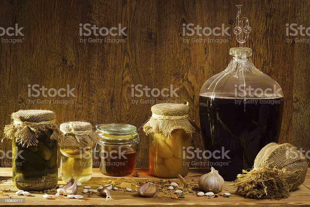 Stockpile for winter in basement royalty-free stock photo