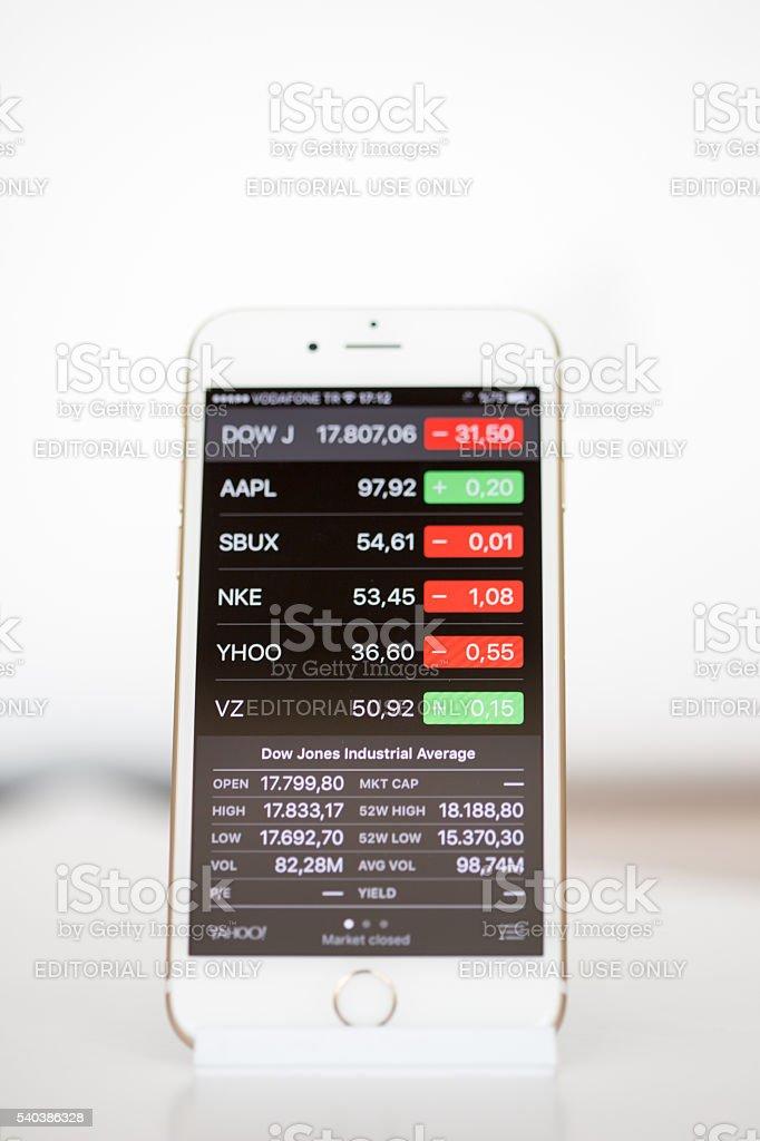 Stocks App on iPhone 6S screen stock photo