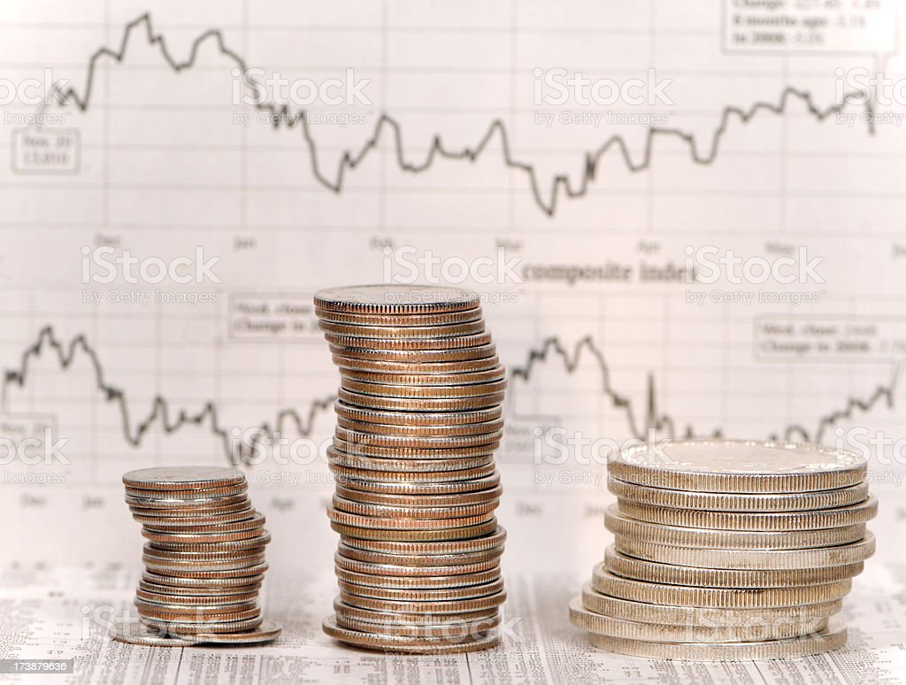 Stocks Chart with Coins stock photo