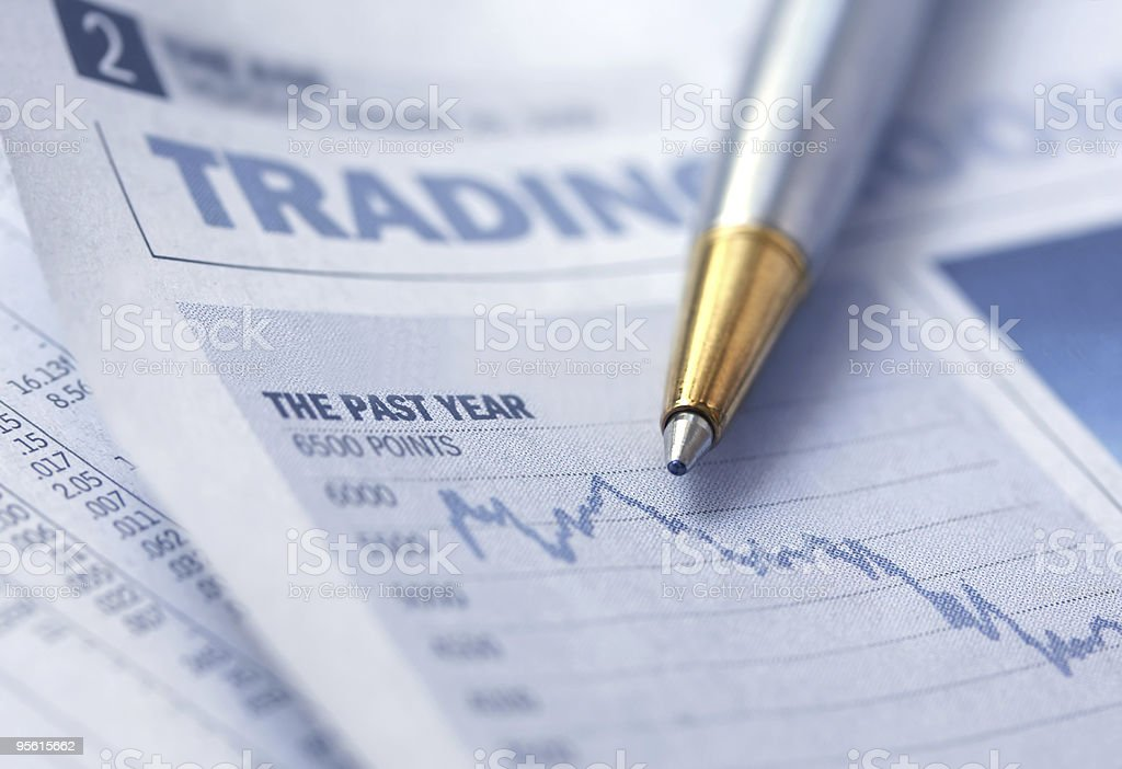 Stocks Graph and Pen stock photo