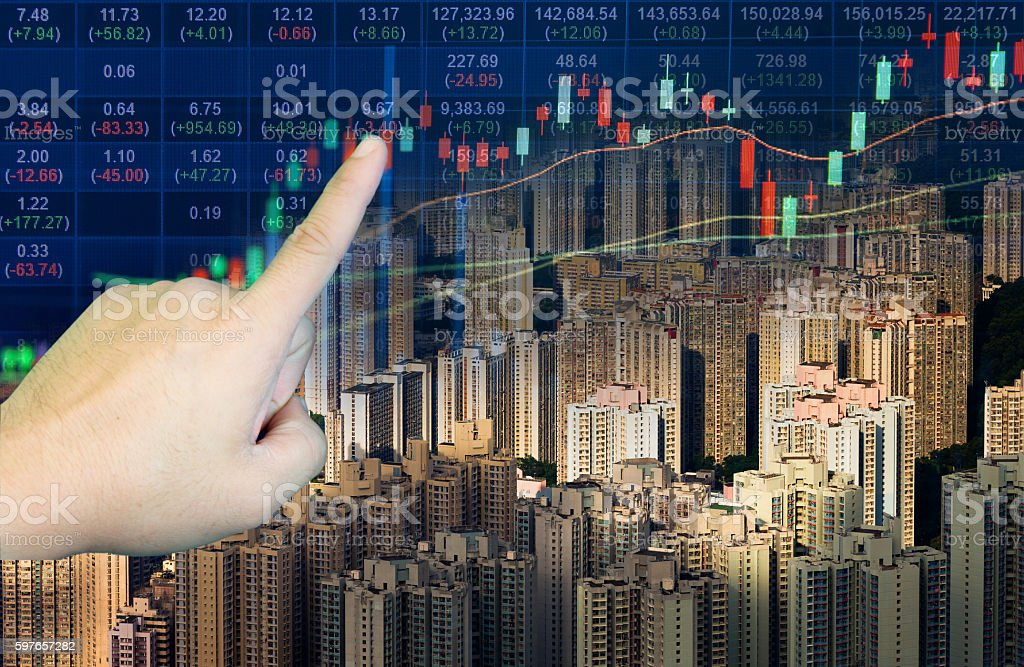 stocks market chart in blue on LED display stock photo