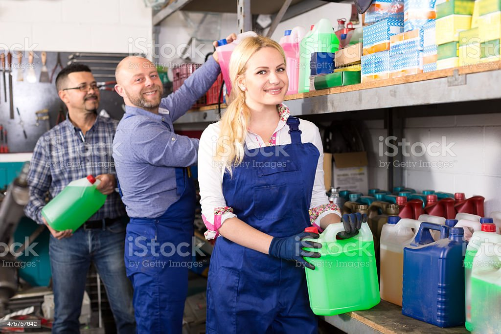 Stocktaking at an automotive parts shop stock photo