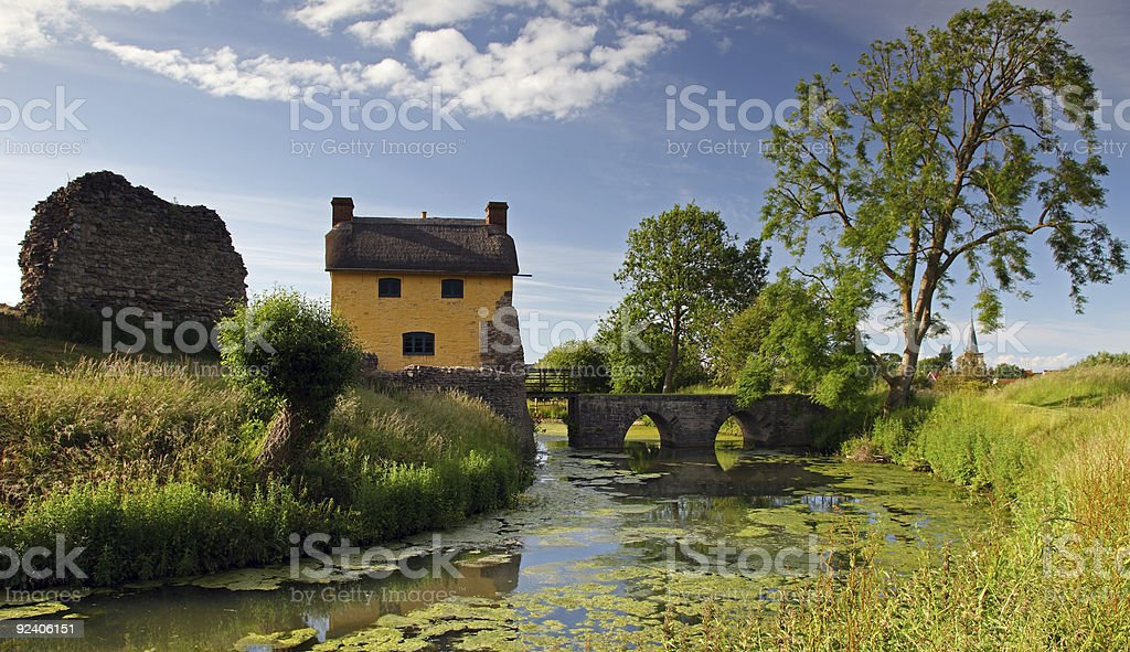 Stogursey castle in summer stock photo