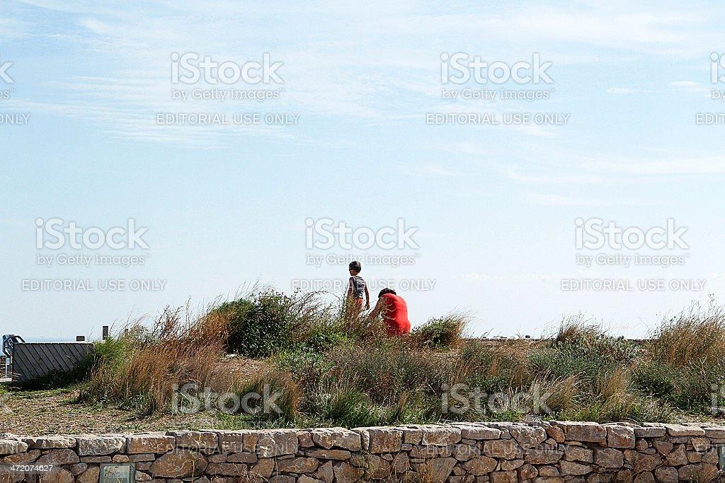 Sétois Madre e figlio in Sète, Francia foto stock royalty-free