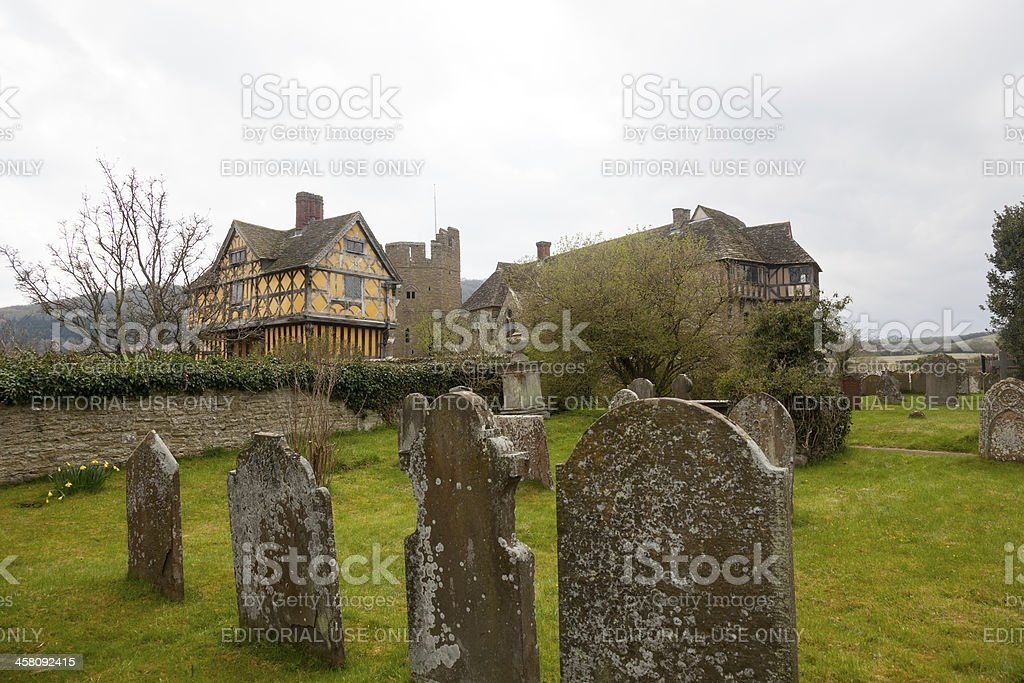 Stokesay Castle in Shropshire on cloudy day royalty-free stock photo