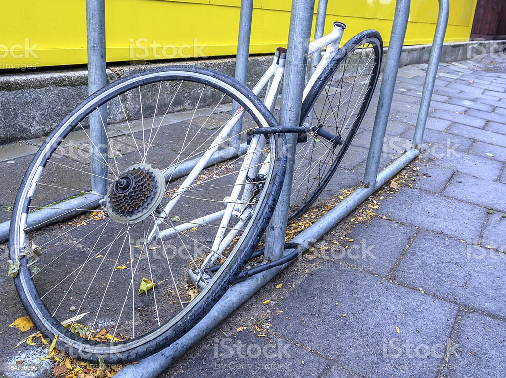 Stolen bike parts in London royalty-free stock photo