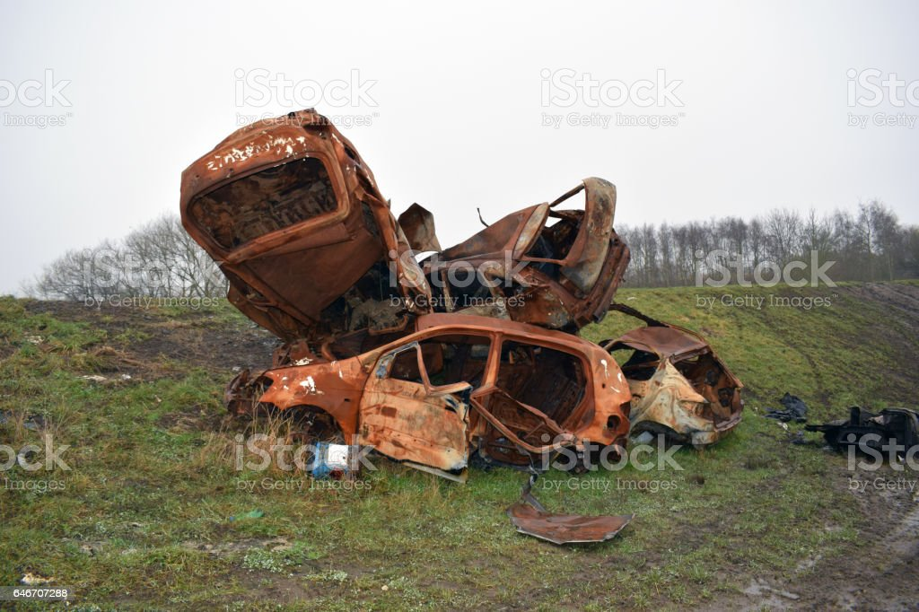Stolen Burnt Out Cars stock photo