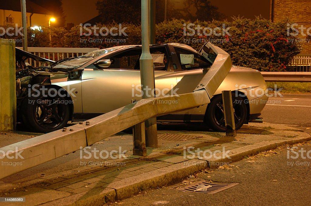 Stolen car crashed under barrier stock photo