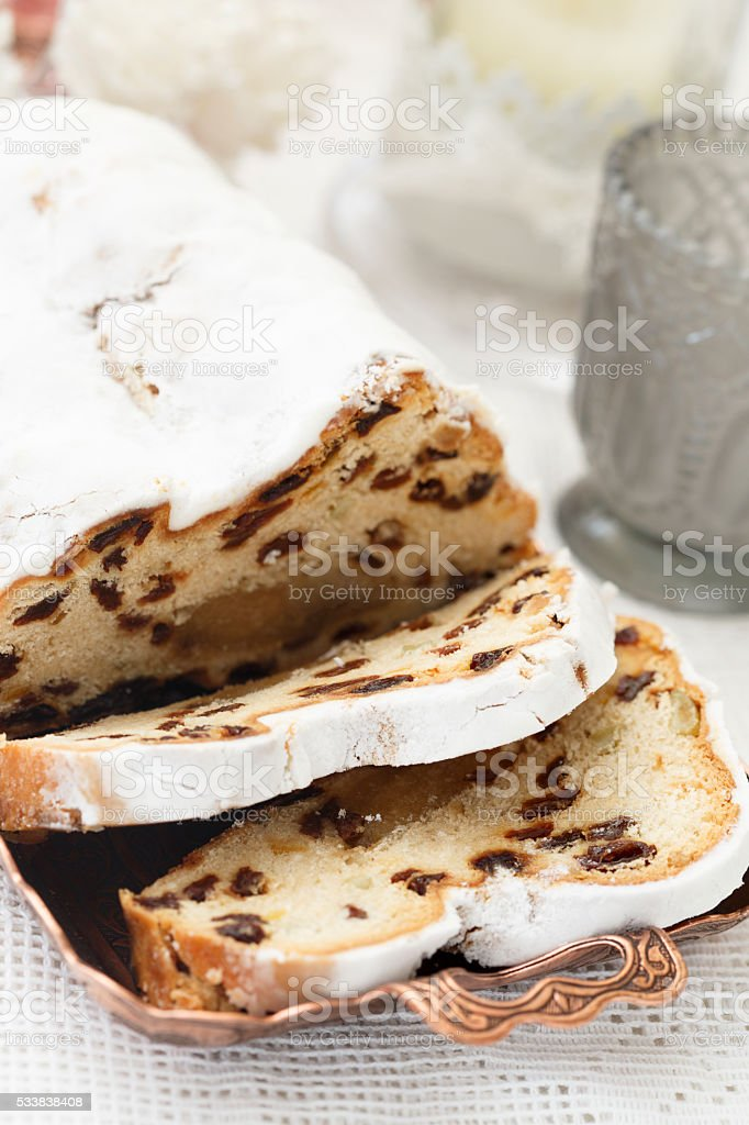 Stollen cake stock photo