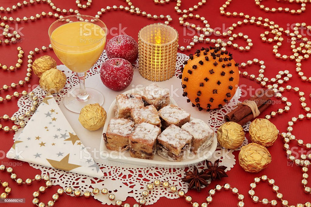 Stollen Cakes and Egg Nog stock photo