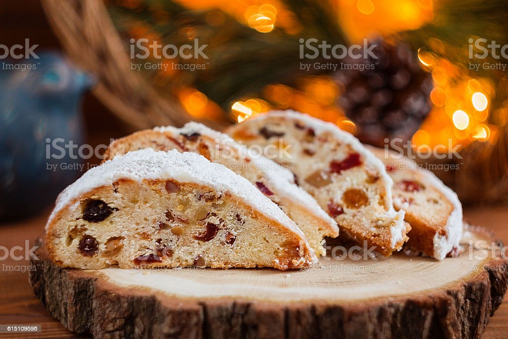 Stollen, traditional Christmas sweet holiday cake stock photo