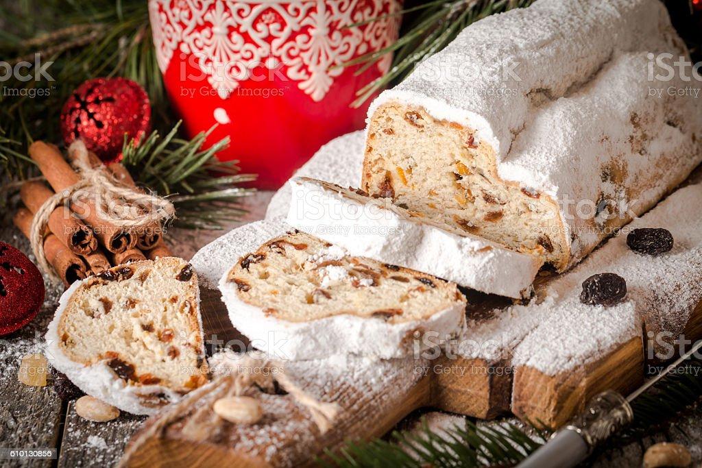 Stollen.Traditional German Christmas cake stock photo