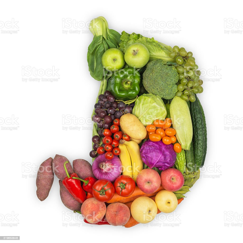 Stomach  Eat Green/Healthy Food stock photo