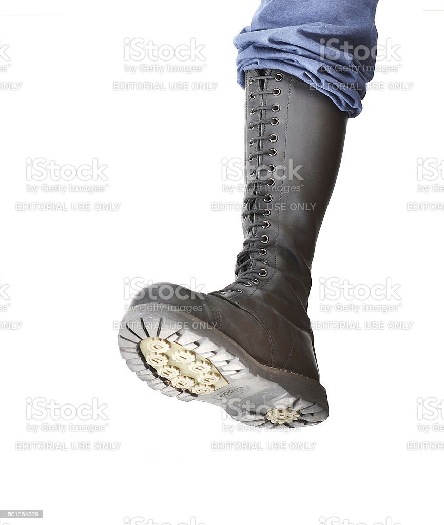 Stomping boot stock photo