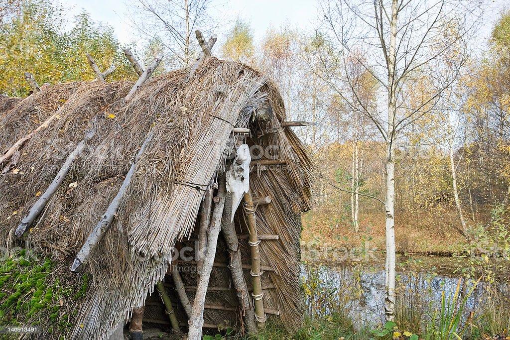 Stone Age hut royalty-free stock photo