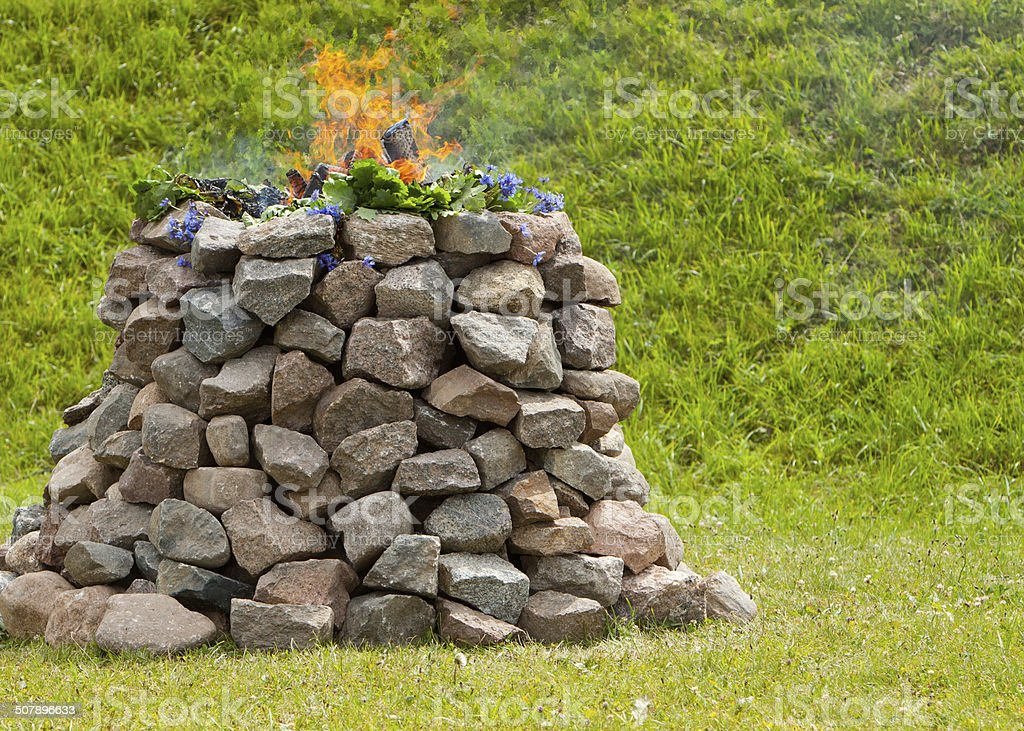 Stone altar and fire pit stock photo