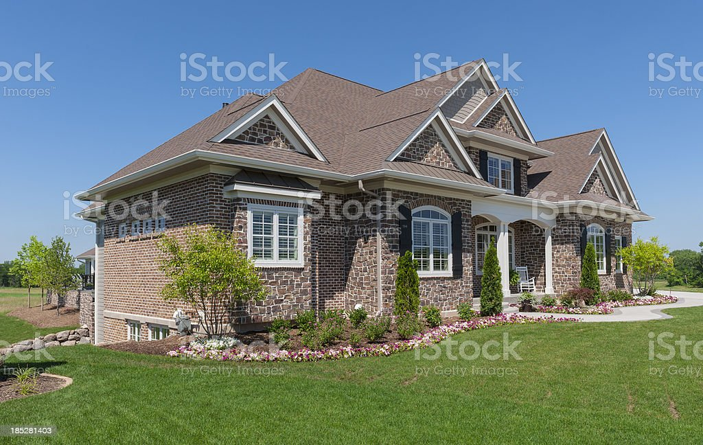 Stone and Brick Suburban House stock photo