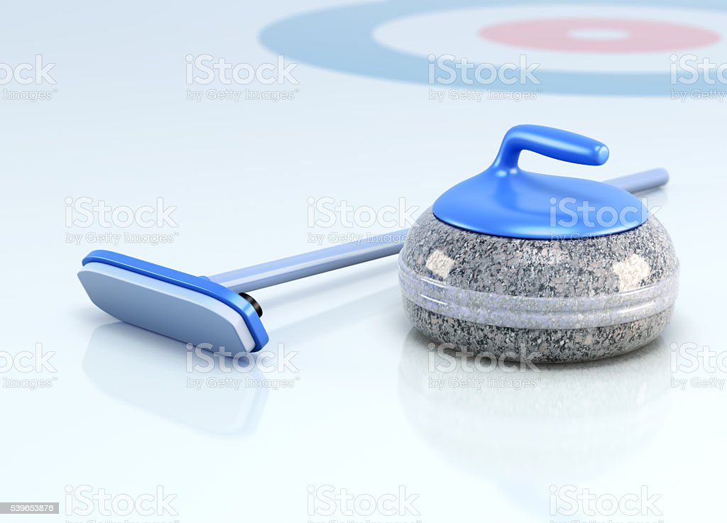 Stone and brush for curling on ice. 3d render image stock photo