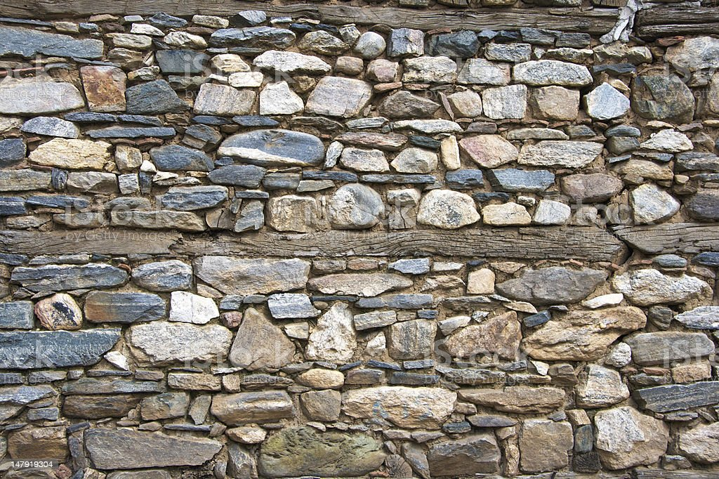 stone and wooden wall stock photo